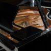 polished black Yamaha C1X SH2 silent grand piano interior