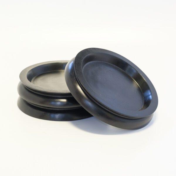 Large Wooden Castor Cups Black