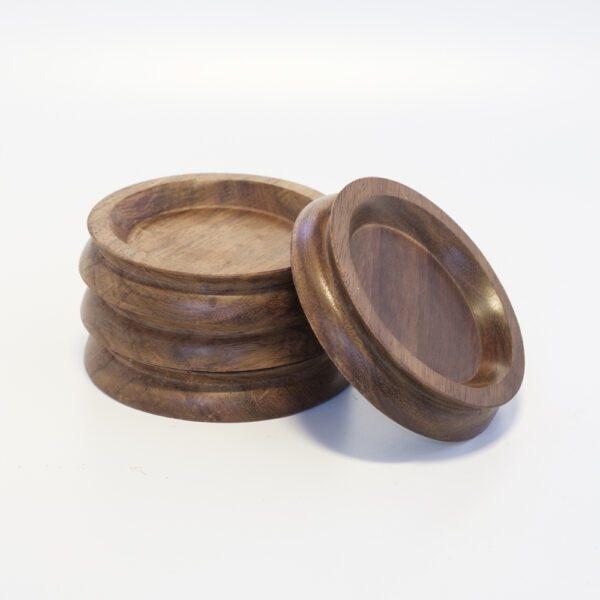 Medium Wooden Castor Cups Laurel