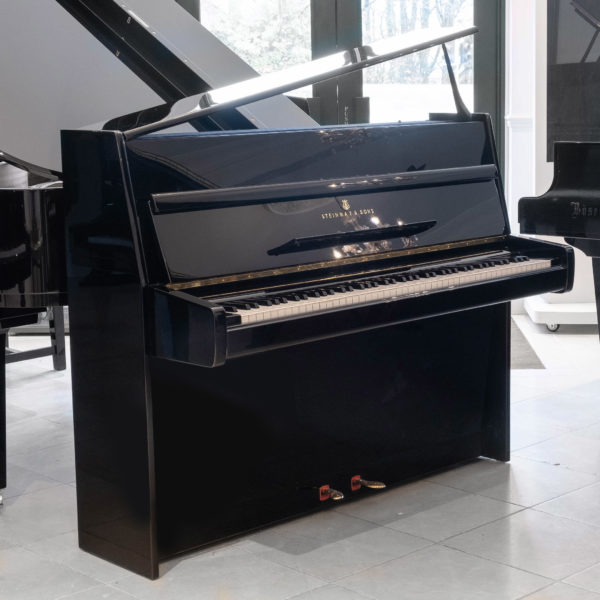 polished black steinway model z upright piano with grand piano style lid whole piano