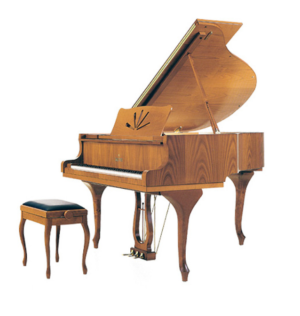Queen anne cherry satin grand piano
